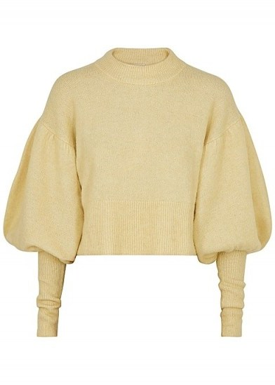BAUM UND PFERDGARTEN Coline yellow knitted jumper – balloon sleeved sweater - flipped