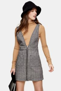Topshop Black And White Check Denim Pinafore Dress | checked pinafores