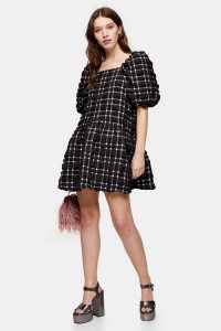 Topshop Black And White Checked Mini Bubble Dress – dresses with volume