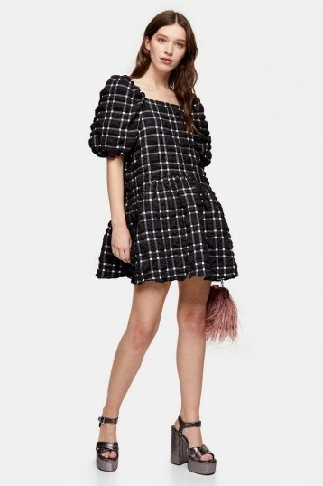 Topshop Black And White Checked Mini Bubble Dress – dresses with volume - flipped