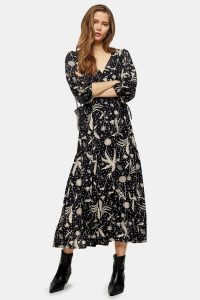 TOPSHOP Black And White Dandelion Tie Midi Wrap Dress / monochrome florals