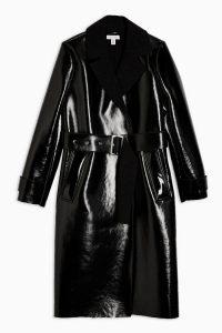 TOPSHOP Black Bonded Borg PU Coat / high shine belted coats