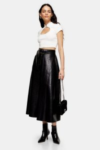 Topshop Black Crocodile PU Full Circle Midi Skirt