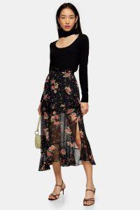 Topshop Black Floral Metallic Thread Ruffle Maxi Skirt | semi sheer ruffled skirts