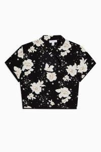 TOPSHOP Black Floral Print Keyhole Blouse