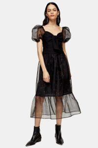 Topshop Black Floral Print Organza Midi Skirt – frill hem skirts