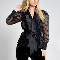 RIVER ISLAND Black polka dot tie belted organza shirt – semi sheer shirts
