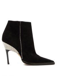 JIMMY CHOO Brecken 100 crystal-embellished suede ankle boots in black