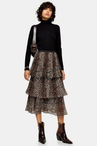 Topshop Brown Leopard Print Tiered Pleated Skirt