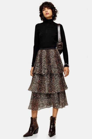 Topshop Brown Leopard Print Tiered Pleated Skirt - flipped