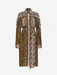 BURBERRY Costanza leopard-print silk midi dress in dark mustard