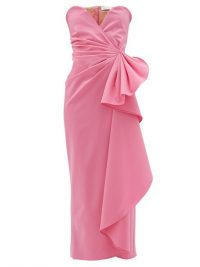 THE ATTICO Bustier draped wool-blend dress in pink ~ strapless party dresses
