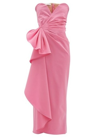 THE ATTICO Bustier draped wool-blend dress in pink ~ strapless party dresses - flipped