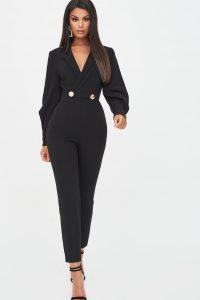 LAVISH ALICE button detail tux jumpsuit in black – glamorous going out jumpsuits