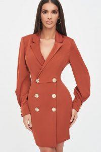 LAVISH ALICE button detail tux mini dress in tobacco – tuxedo style going out dresses