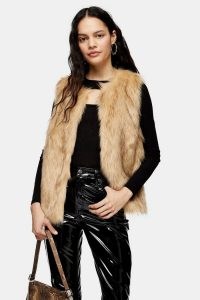 TOPSHOP Camel Tipped Faux Fur Gilet / fluffy gillets / sleeveless winter jacket