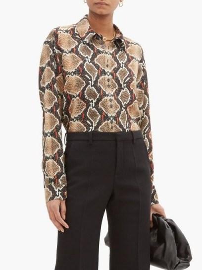 BURBERRY Carlota snake-print mulberry-silk shirt ~ reptile prints - flipped