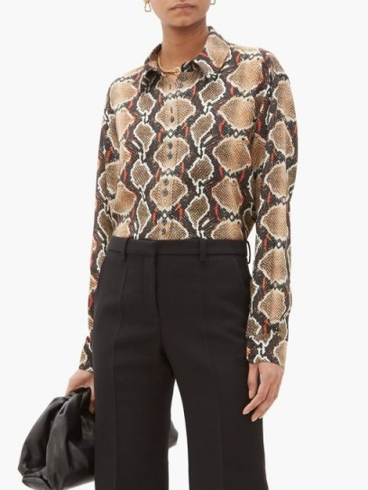 BURBERRY Carlota snake-print mulberry-silk shirt ~ reptile prints