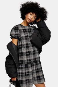 TOPSHOP Check Puff Sleeve Mini Dress in Black / drop waist dresses