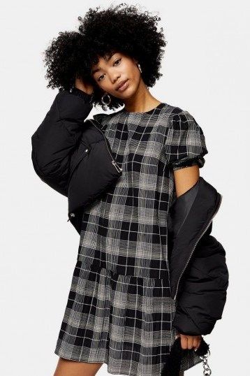 TOPSHOP Check Puff Sleeve Mini Dress in Black / drop waist dresses - flipped