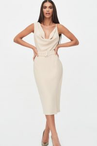 LAVISH ALICE cowl neck belted midi dress in clay – luxe style eveningwear – glamorous evening look