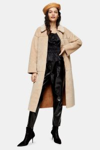 Topshop Cream Belted Borg Coat – luxury look winter coats