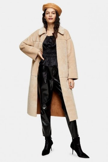 Topshop Cream Belted Borg Coat – luxury look winter coats - flipped