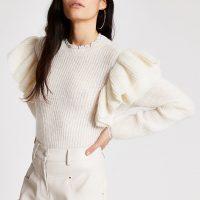 River Island Cream frill long sleeve knitted jumper | feminine knits