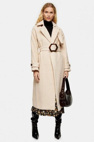 Topshop Cream Twill Belted Coat | chic neutral winter coats - flipped