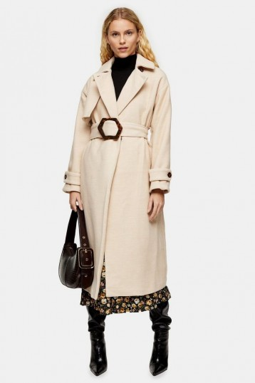 Topshop Cream Twill Belted Coat | chic neutral winter coats