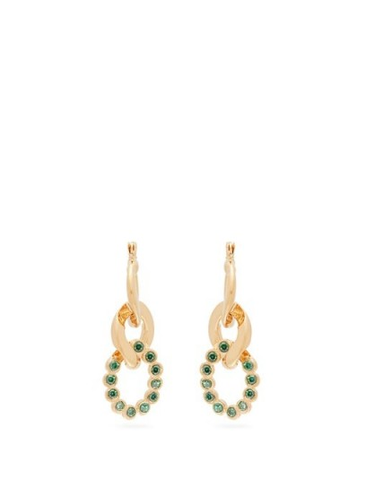 HILLIER BARTLEY Green crystal curb-link earrings