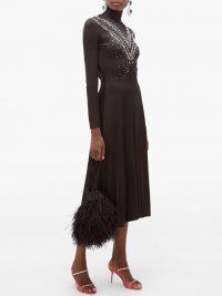 PACO RABANNE Crystal-embellished jersey midi dress in black
