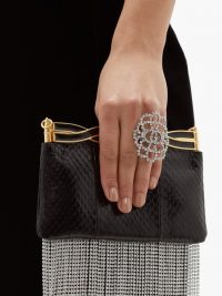 GUCCI Crystal-lace GG ring ~ large silver-tone rings