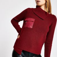 River Island Dark red faux leather pocket knit jumper | asymmetric sweater