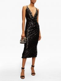 DOLCE & GABBANA Deep V-neck sequinned midi dress in black / shimmering lbd