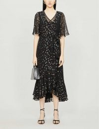 DIANE VON FURSTENBERG Berdina metallic polka-dot crepe midi dress in black-multi / floaty party dresses
