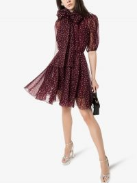 Dolce & Gabbana Polka Dot Silk Organza Mini Dress in burgundy