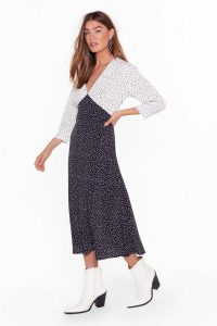 NASTY GAL Dot Your Average Gal Relaxed Midi Dress in black / monochrome dresses