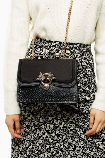 TOPSHOP DOUBLE Black Panther Cross Body Bag