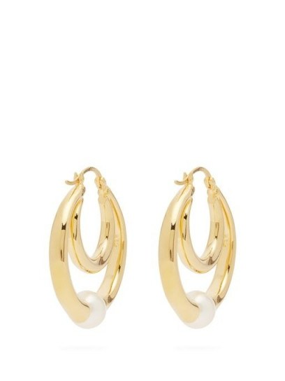 SOPHIE BUHAI Double-hoop gold-vermeil and faux-pearl earrings – luxe hoops - flipped