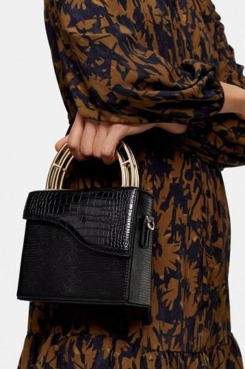 Topshop DRIFT Black Handle Grab Bag – chic handbags - flipped