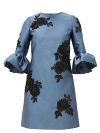 ERDEM Elijah floral-appliqué Mikado-satin mini dress in blue