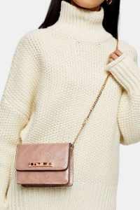 TOPSHOP ELLA Crocodile Print Mini Bag / small crossbody with chain strap