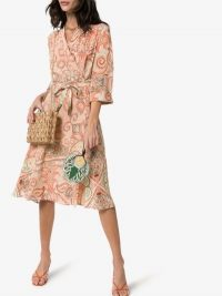 Etro Paisley Silk Wrap Dress in orange