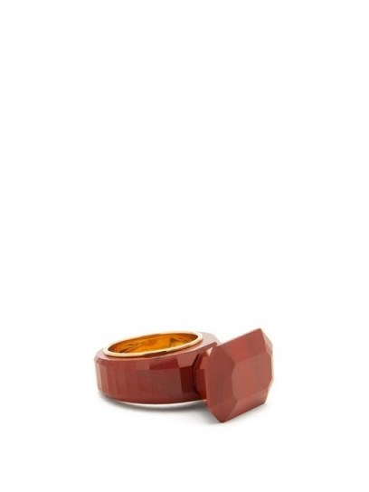 BOTTEGA VENETA Red faceted jasper gold-plated ring – semi-precious stone rings - flipped
