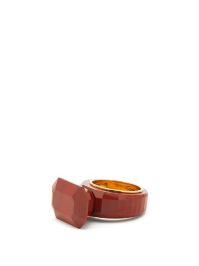 BOTTEGA VENETA Red faceted jasper gold-plated ring – semi-precious stone rings