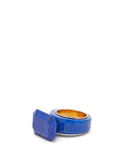 BOTTEGA VENETA Faceted lapis gold-plated ring in blue