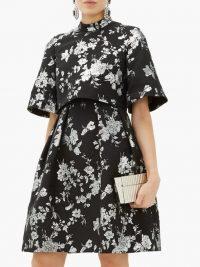 ERDEM Favilla cape-back brocade mini dress in black / feminine occasion wear