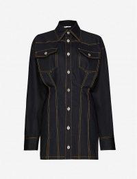 FENTY Corset-stitched stretch-denim mini dress in jet black
