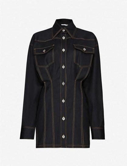 FENTY Corset-stitched stretch-denim mini dress in jet black - flipped